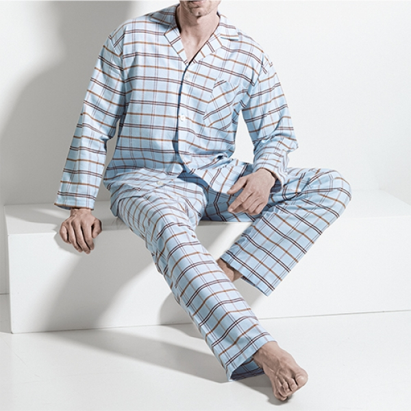 Pyjama long mit Knopfleiste/buttened Flannel Night and Home ISAbodywear(ISAnhISAnh9861)